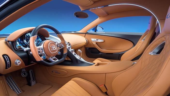 Den fantastiske Bugatti Chiron har et eksklusivt interiør i læder
